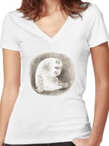 Snowy Owl Sitting In a Hollow Women's Fitted V-Neck T-Shirt