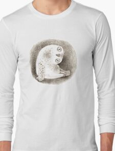 Snowy Owl Sitting In a Hollow Long Sleeve T-Shirt
