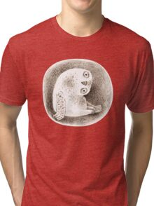 Snowy Owl Sitting In a Hollow Tri-blend T-Shirt
