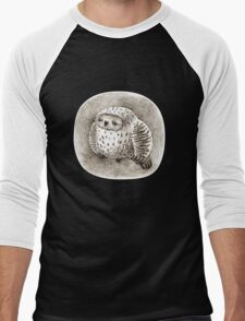 Great Grey Owl Sleeping In a Hollow Men's Baseball ¾ T-Shirt