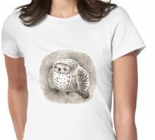 Great Grey Owl Sleeping In a Hollow Womens Fitted T-Shirt