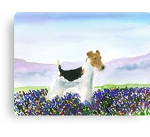 Wire Fox Terrier'Spring Flowers' Canvas Print