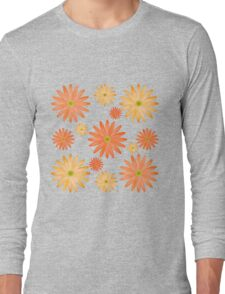 Orange Flowers Pattern Long Sleeve T-Shirt