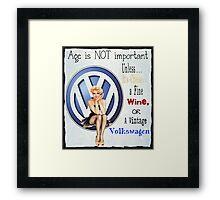 Vintage Cheese wine & Volkswagen Framed Print