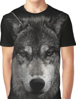 Halftone Wolf Animal Graphic T-Shirt
