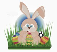 Cartoon easter rabbit on grass holding an easter egg Baby Tee