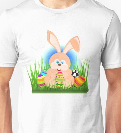 Cartoon easter rabbit on grass holding an easter egg Unisex T-Shirt