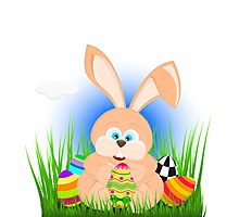 Cartoon easter rabbit on grass holding an easter egg Photographic Print
