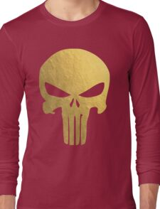 The Punisher Skull Gold Texture Long Sleeve T-Shirt
