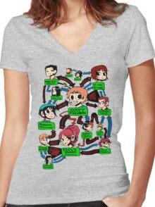 Scott pilgrim relationships Women's Fitted V-Neck T-Shirt