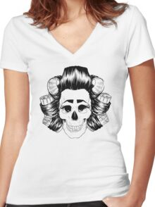 THE SKULL IS COOL Women's Fitted V-Neck T-Shirt