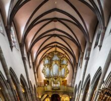 Panoramic interior view of medieval church in Ribeauville, Alsace, France Sticker