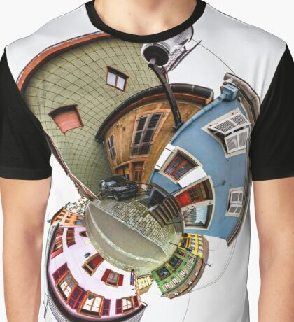 Funny street view of little french village. Curvature of space, little planet effect, panoramic view. Graphic T-Shirt