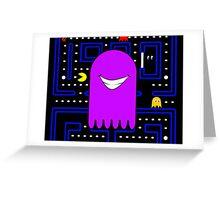 Retro Pac Man Monster Gamin Smile Greeting Card