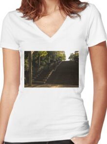 Joyful, Sunny Splashes - Wide Steps and Blue and Yellow Cascades - Montjuic Park, Barcelona, Spain Women's Fitted V-Neck T-Shirt