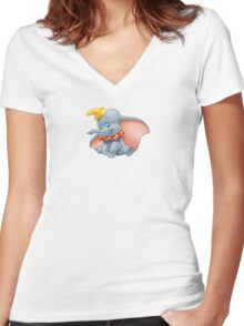 Sitting Dumbo Women's Fitted V-Neck T-Shirt