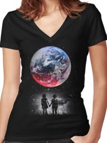 WATCH THE WORLD DIE Women's Fitted V-Neck T-Shirt