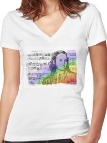 J.S. Bach Illuminated Women's Fitted V-Neck T-Shirt