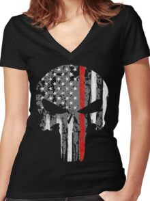 Punisher - Red Line Women's Fitted V-Neck T-Shirt
