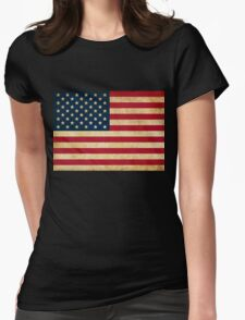 Vintage Grunge USA Flag Womens Fitted T-Shirt