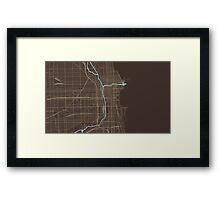 Chicago Map (Autumn) Framed Print