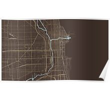 Chicago Map (Autumn) Poster
