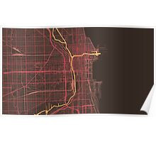 Chicago Map (Summer) Poster