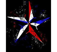 American Flag Nautical Star - Grunge Photographic Print