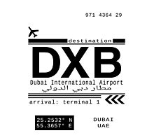 DXB Dubai International Airport Call Letters Photographic Print