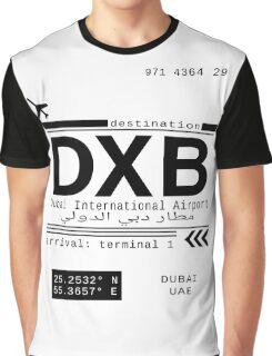 DXB Dubai International Airport Call Letters Graphic T-Shirt
