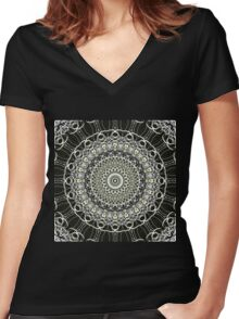 Graphics Out Of The Kaleidoscope Light Women's Fitted V-Neck T-Shirt