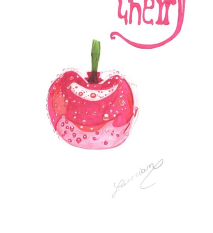 cherry cerise realistic drawing Sticker