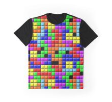 Tetris Inspired Retro Gaming Colourful Squares Graphic T-Shirt