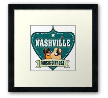 Vintage Nashville Music City Framed Print
