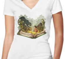 The Book Of Jungle Mowgli n Bagheera Women's Fitted V-Neck T-Shirt