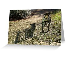 Evening Shadows From Old Park Bench Greeting Card