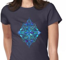 Deep Ocean Art Nouveau Watercolor Doodle Womens Fitted T-Shirt