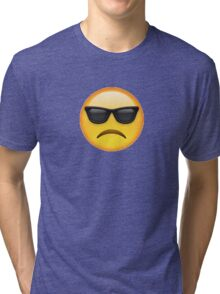 B( Sad Sunglasses Emoji Tri-blend T-Shirt