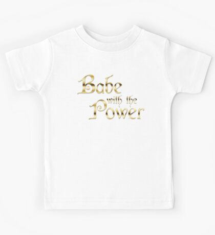 Labyrinth Babe With The Power (black bg) Kids Tee