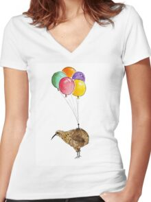 Kiwi flying with balloons Women's Fitted V-Neck T-Shirt