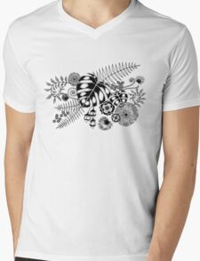 Tropical Leaves and Flowers Mens V-Neck T-Shirt