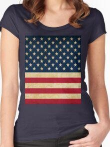 Grunge American Flag Women's Fitted Scoop T-Shirt