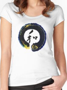 Wa - Peace Harmony in Enso zen circle Women's Fitted Scoop T-Shirt