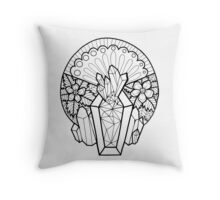 Crystal Coffin: Memento Mori Throw Pillow