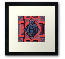 Grenade Pattern [Blue/Red] Framed Print