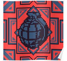 Grenade Pattern [Blue/Red] Poster