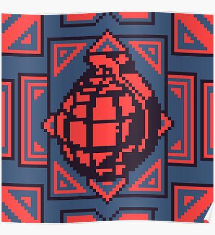 Grenade Pattern [Red/Blue] Poster