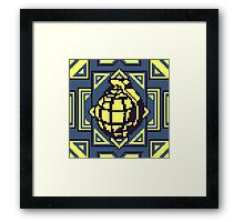 Grenade Pattern [Yellow/Blue] Framed Print