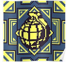 Grenade Pattern [Yellow/Blue] Poster