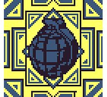 Grenade Pattern [Blue/Yellow] Photographic Print
